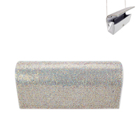 Rhinestone Covered Fabric Evening Clutch Purse With Chain Strap Bag3343Sab