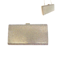 CRYSTAL HARD CASE EVENING CLUTCH WITH STRAP