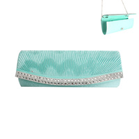 TEAL FASHIONABLE FAUX SUEDE CLUTH WITH STRAP