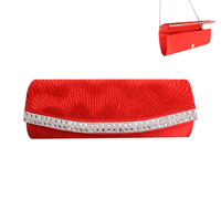 RED FASHIONABLE FAUX SUEDE CLUTH WITH STRAP