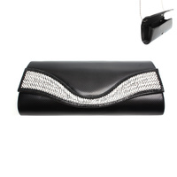 CLUTCH BAG W/DIAMONDS AND BLACK SEQUIN IN FRONT