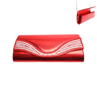 CLUTCH BAG W/DIAMONDS AND RED SEQUIN IN FRONT