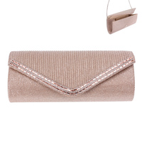 FABRIC EVENING BAG W/GEM LINING