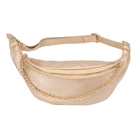 METALLIC FANNY PACK W/ GOLD CHAIN