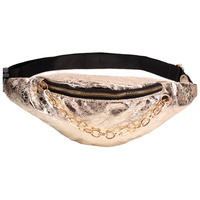 FOIL FABRIC FANNY PACK W/ CHAIN