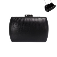 TEXTURED FAUX LEATHER EVENING BAG