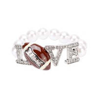 Love With Stones And Football With Pearl Strand Stretch Bracelet Bg1241Rwh