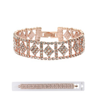 DIAMOND SHAPE CLASP BRACELET W/GEMS