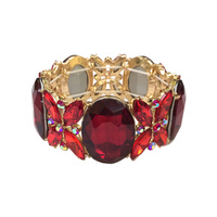 RED LARGE STONE STRETCH BRACELET