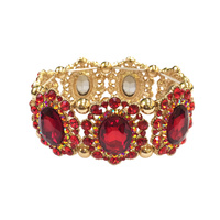 Oval Gem With Stone Burst Edge Stretch Bracelet Bl066Grd