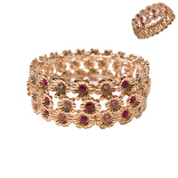 3 LINE FLOWER STRETCH BRACELET W/ S