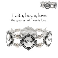 """FAITH HOPE LOVE"" INSPIRATION PEARL STRETCH BR."