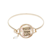 "FLORAL ""FAITH, HOPE, LOVE"" WIRE BRACELET"