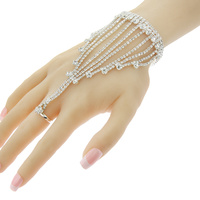 DETAILED CHAIN RHINESTONE RING BR