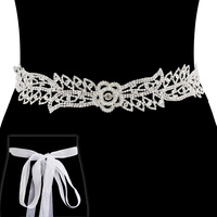 RHINESTONE BELT W/ RIBBON BACKING