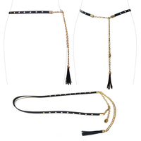Faux Leather Tassel With Chain Adjustable Fashion Belt Btl001Gbk