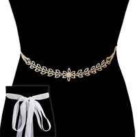 FLOWER PETAL RHINESTONE DRESS BELT