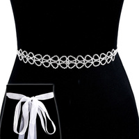 Rhinestone Wedding Tie Sash Belt Btm1725S