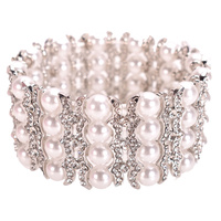 4 ROW PEARL STONE STRETCH BRACELET