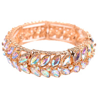 PETAL METAL STONE STRETCH BRACELET