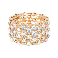 6 Line Wide Stone Encrusted Stretch Bracelet By3482Gca