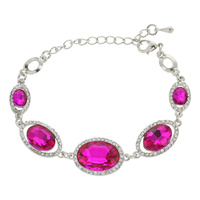 MIRRORED HALO OVAL STRETCH BRACELET