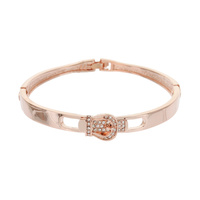 BUCKLE METAL STONE BANGLE BRACELET