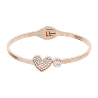 HEART METAL STONE BANGLE