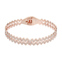DUAL ZIGZAG METAL STONE BANGLE