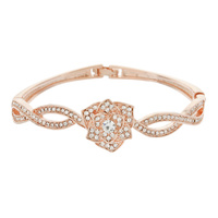 ROSE METAL STONE HINGE BANGLE