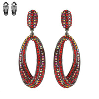Ce419Fu Stone Encrusted Teardrop Clip Earrings
