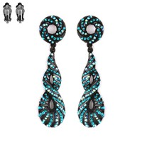 Stone Encrusted Metal Twist Clip Earrings Ce422Bz