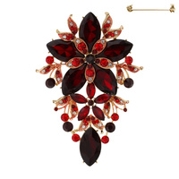 OBLONG RHINESTONE FLOWER BROOCH