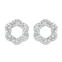 3 INTERLINK OVAL CUBIC POST EARRING