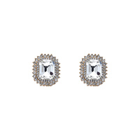 RECTANGLE SHAPE RHINESTONE POST EARRING