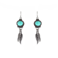 FEATHER TQ HOOK EARRING