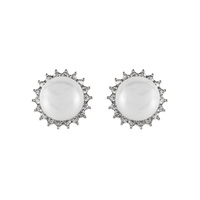 CUBIC AND PEARL STUD EARRING