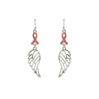PINK RIBBON W/ WING EARRING