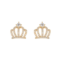CUBIC CROWN STUD EARRING