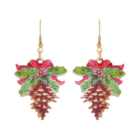 PINE CONE CHRISTMAS EARRING