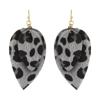 2 LAYERED LEATHER DROP EARRING