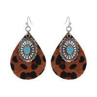 CONCHO CHARM LEATHER EARRINGS