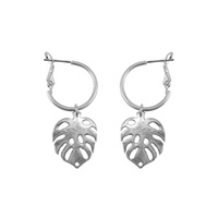 DANGLY PALM LEAF HOOP EARRING