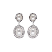 RHINESTONE AND PEARL DROP EARRING