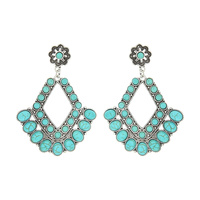 WESTERN TURQUOISE CHANDELIER EARRINGS