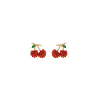 RHINESTONE CHERRY POST EARRING