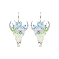 LARGE STEER HEAD BLUE BONNET PRINT EARRINGS