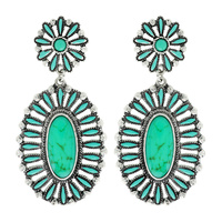 WESTERN OVAL TURQUOISE EARRINGS