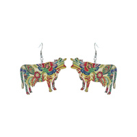 COW FLORAL WOOD EARRINGS