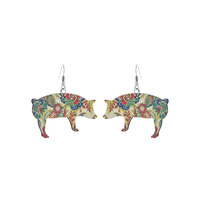 PIG FLORAL WOOD EARRINGS